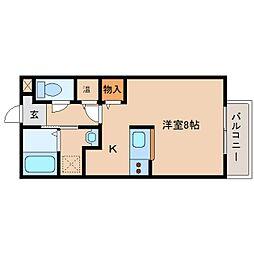 奈良県生駒郡安堵町笠目の賃貸アパートの間取り