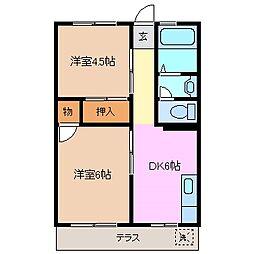 三重県四日市市山城町の賃貸マンションの間取り