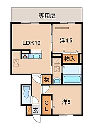 和歌山県有田市宮崎町の賃貸アパートの間取り