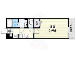 阪急宝塚本線 蛍池駅 徒歩9分の賃貸マンション 2階1Kの間取り
