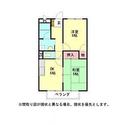 愛知県岩倉市八剱町道光の賃貸アパートの間取り