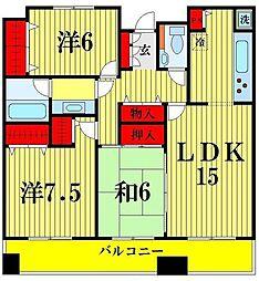 東武伊勢崎線 東向島駅 徒歩9分の賃貸マンション 21階3LDKの間取り