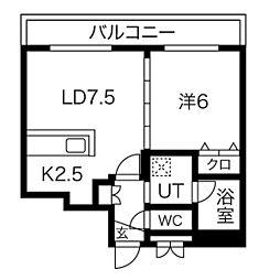 S-RESIDENCE桑園(エスレジデンス桑園) 4階1LDKの間取り