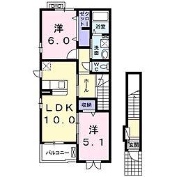 大阪府八尾市天王寺屋2丁目の賃貸アパートの間取り