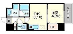 サムティガーデン江坂II 9階1DKの間取り