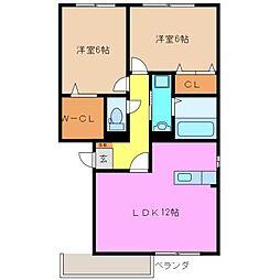フローラM A棟[1階]の間取り