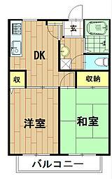 神奈川県川崎市中原区下小田中6丁目の賃貸アパートの間取り