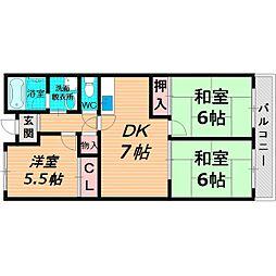 京阪本線 西三荘駅 徒歩11分の賃貸マンション 5階3DKの間取り