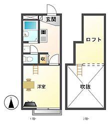 レオパレスM&Y中郷[1階]の間取り