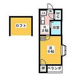愛知県名古屋市中村区名楽町1の賃貸アパートの間取り