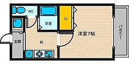 Collection甲東園 2階1Kの間取り