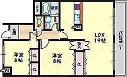 北大阪急行電鉄 桃山台駅 徒歩10分の賃貸マンション 2階2LDKの間取り