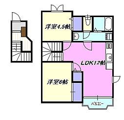 神奈川県茅ヶ崎市室田2丁目の賃貸アパートの間取り