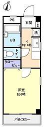滝不動駅前S.K.ハイツ[3階]の間取り