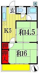 千葉県船橋市市場3丁目の賃貸アパートの間取り