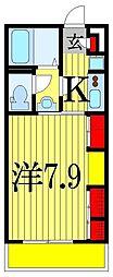 リブリ・プランドールMA 2階1Kの間取り