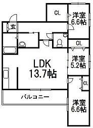 北海道札幌市中央区宮の森三条4丁目の賃貸マンションの間取り