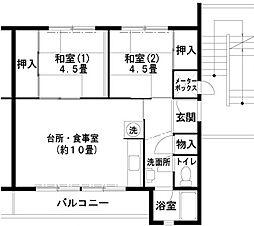 兵庫県神戸市垂水区狩口台1丁目の賃貸マンションの間取り
