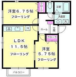 神奈川県藤沢市高谷の賃貸アパートの間取り