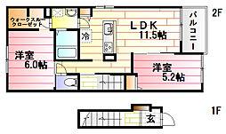 バス 大上下車 徒歩3分の賃貸アパート 2階2LDKの間取り