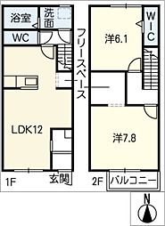[タウンハウス] 愛知県清須市清洲 の賃貸【/】の間取り