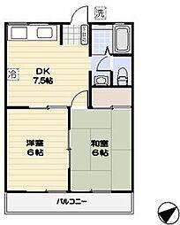 サンハイツC棟2階Fの間取り画像
