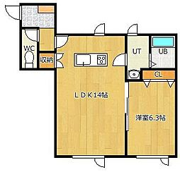 LIFE[2-B号室]の間取り