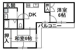 大阪府大阪市住吉区長居4丁目の賃貸マンションの間取り