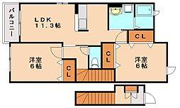 JR博多南線 博多南駅 徒歩28分の賃貸アパート 2階2LDKの間取り
