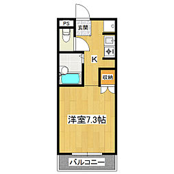 茨城県つくば市二の宮1丁目の賃貸マンションの間取り