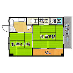ビレッジハウス高田[4階]の間取り