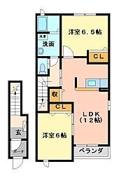 サンプラザA・B[2階]の間取り