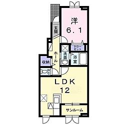 ラウレア 1階1LDKの間取り