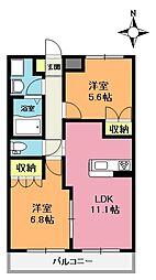 埼玉県上尾市小泉3丁目の賃貸アパートの間取り