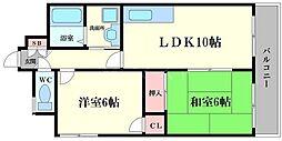 ソレアード 6階2LDKの間取り
