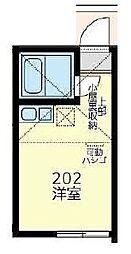 JR横浜線 大口駅 徒歩8分の賃貸アパート 2階ワンルームの間取り