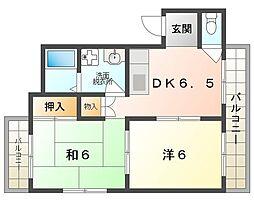 奈良本マンション 2階2DKの間取り