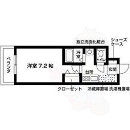 名古屋市営鶴舞線 川名駅 徒歩10分の賃貸マンション 3階1Kの間取り
