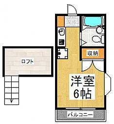 学園フラット[2階]の間取り
