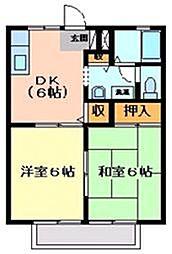 広島県福山市神島町の賃貸アパートの間取り