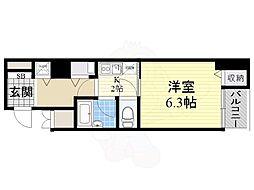 ベルシモンズ大阪港 4階1Kの間取り
