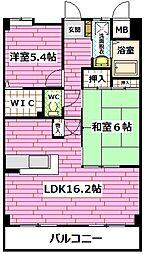 広島県広島市安佐南区中筋4丁目の賃貸マンションの間取り