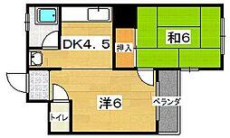 大阪府枚方市茄子作1丁目の賃貸マンションの間取り