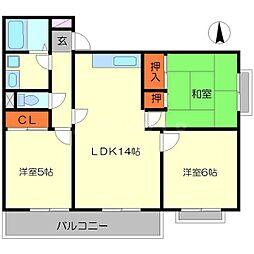 ルミエール箕面II[2階]の間取り