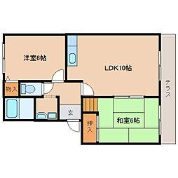 JR桜井線 櫟本駅 徒歩10分の賃貸アパート 1階2LDKの間取り
