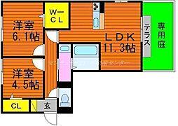 岡山県岡山市南区豊成2丁目の賃貸アパートの間取り