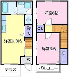 南海高野線 萩原天神駅 徒歩15分の賃貸テラスハウス 1階2LDKの間取り