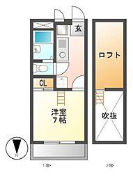 愛知県名古屋市南区曽池町2丁目の賃貸アパートの間取り