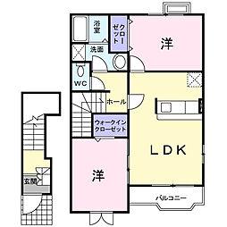 神奈川県座間市入谷1丁目の賃貸アパートの間取り