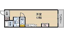 Osaka Metro四つ橋線 肥後橋駅 徒歩5分の賃貸マンション 4階ワンルームの間取り